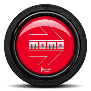 MOMO Horn Button Glossy Red Chormed Logo