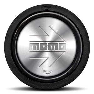 MOMO Horn Button Shiny Silver Chromed Logo