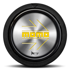 MOMO Horn Button Shiny Silver Yellow Logo