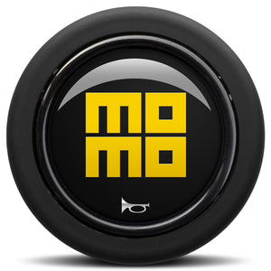 MOMO Horn Button Glossy Black Yellow Heritage Logo