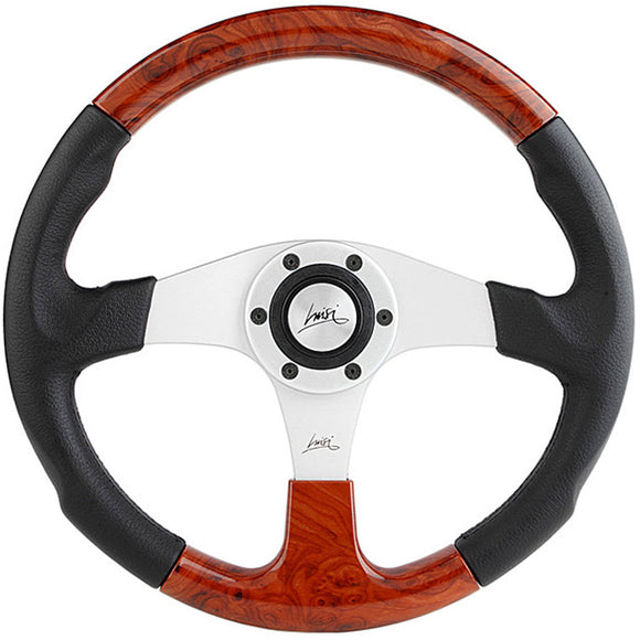 Luisi EVOLUITION 2 Steering Wheel Black Polyurethane Silver Spokes With Briar Look Insert 360mm