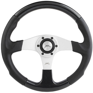 Luisi EVOLUTION 2 Steering Wheel Black Polyurethane Silver Spokes With Carbon Look Insert 360mm
