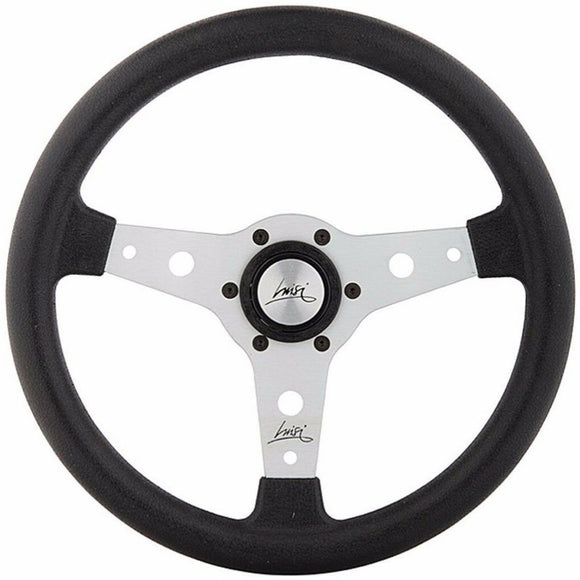 Luisi Falcon 310 Steering Wheel Black Polyurethane Silver Spokes 310mm