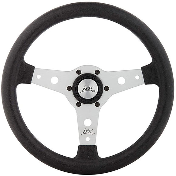 Luisi Falcon 340 Steering Wheel Black Polyurethane Silver Spokes 340mm