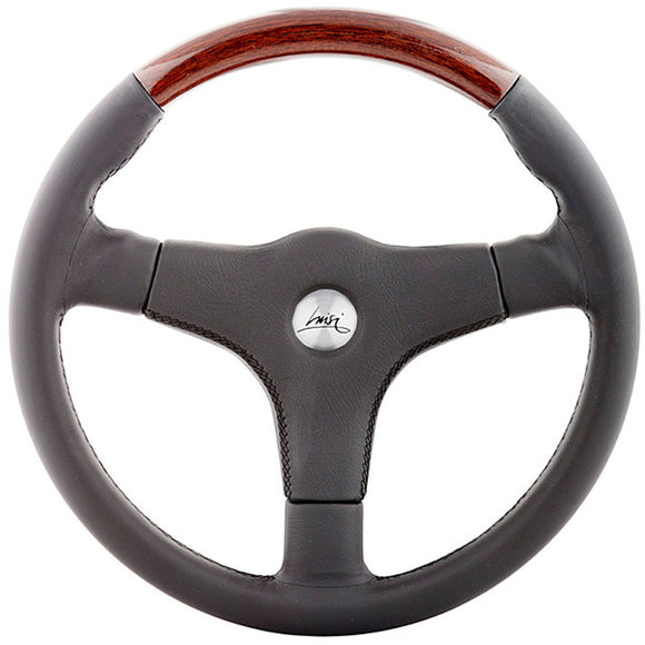 Luisi Giba 3 Anatomico Steering Wheel Black Leather With Mahogany Insert And Black Leather Cover 355mm