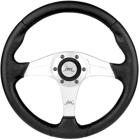 Luisi Grinta Steering Wheel Black Polyurethane Silver Spokes 350mm