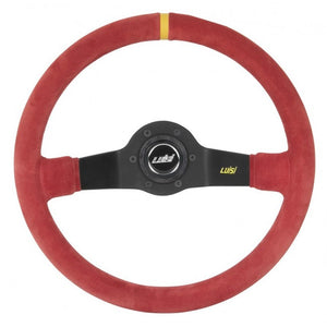 Luisi Jet Corsa Two Spoke Steering Wheel Red Shammy Leather Black Spokes 350mm