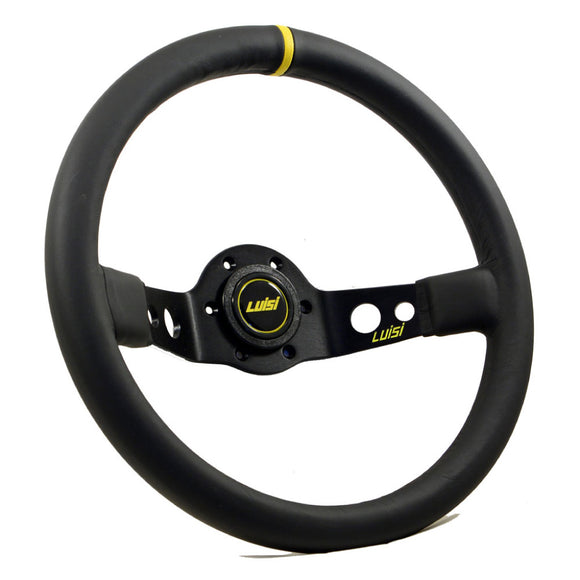 Luisi Jet Sport Two Spoke Steering Wheel Black Leather Yellow Stripe Black Spokes 350mm