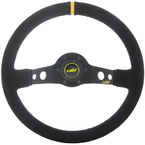 Luisi Jet Sport Two Spoke Steering Wheel Black Shammy Leather Yellow Stripe Black Spokes 350mm