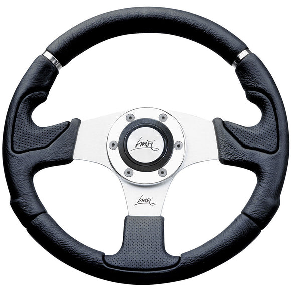 Luisi Kobra Evo Steering Wheel Black Polyurethane Silver Spokes 320mm