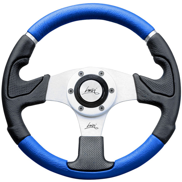 Luisi Kobra Mix Steering Wheel Black Blue Polyurethane Silver Spokes 320mm