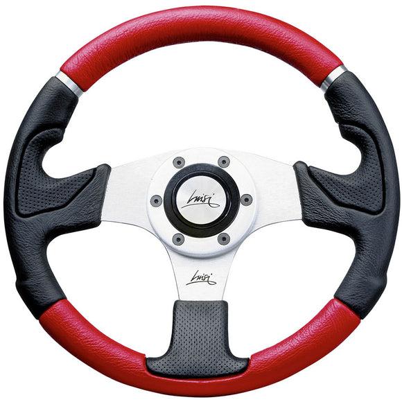 Luisi Kobra Mix Steering Wheel Black Red Polyurethane Silver Spokes 320mm