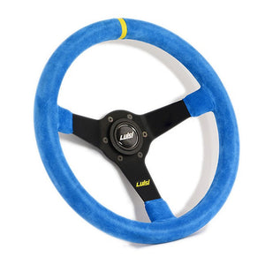 Luisi Mirage Corsa Steering Wheel Blue Shammy Leather Black Spokes 350mm