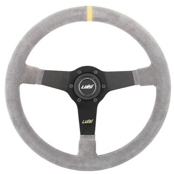 Luisi Mirage Corsa Steering Wheel Grey Shammy Leather Black Spokes 350mm