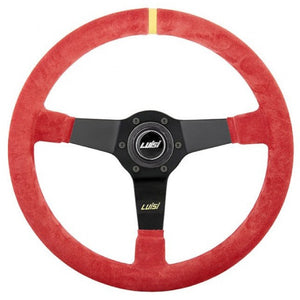 Luisi Mirage Corsa Steering Wheel Red Shammy Leather Black Spokes 350mm