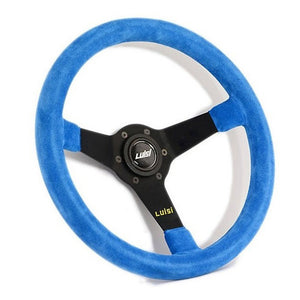 Luisi Mirage Steering Wheel Blue Shammy Leather Black Spokes 350mm