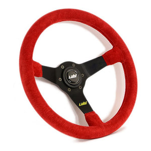 Luisi Mirage Steering Wheel Red Shammy Leather Black Spokes 350mm