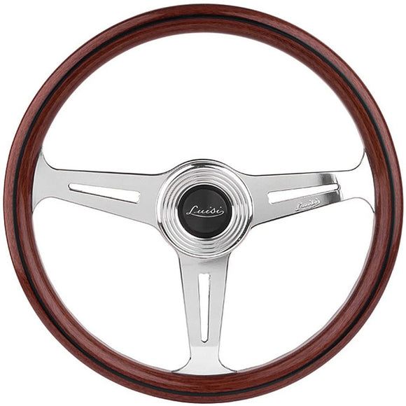 Luisi Montecarlo 390 Steering Wheel Mahogany Wood Polished Spokes 390mm