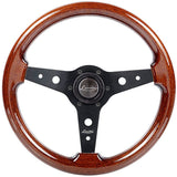 Luisi Montreal Steering Wheel Mahogany Wood Black Spokes 340mm