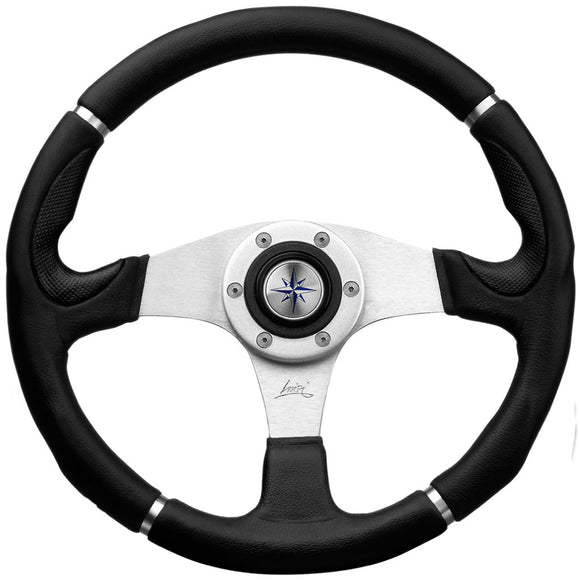 Luisi Orion Steering Wheel Black Polyurethane Silver Spokes 360mm