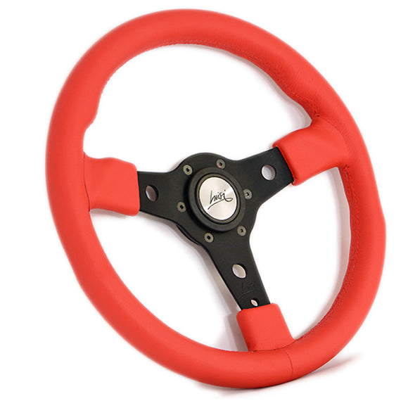 Luisi Racing Steering Wheel Red Leather Black Spokes 350mm