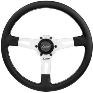 Luisi Sharav Steering Wheel Black Leather Silver Spokes 340mm