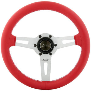 Luisi Sharav Steering Wheel Red Leather Silver Spokes 315mm