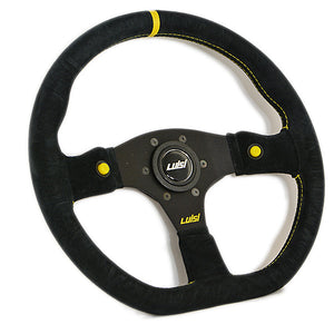 Luisi Stealth Corsa Hp Steering Wheel Black Shammy Leather Black Spokes 355mm