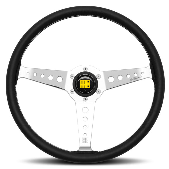 MOMO California Steering Wheel Black Leather Silver Spokes 360mm