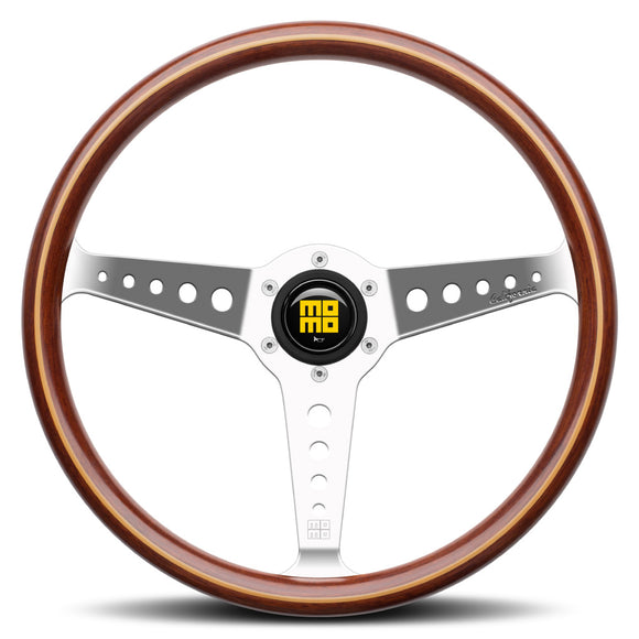 MOMO California Wood Steering Wheel Mahogany Wood Silver Spokes 360mm - evilspeed.eu
