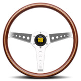 MOMO California Wood Steering Wheel Mahogany Wood Silver Spokes 360mm