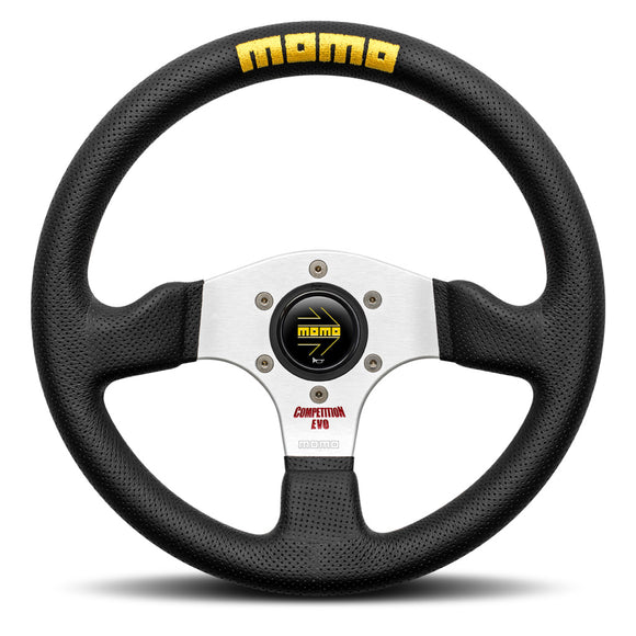 MOMO Competition EVO Steering Wheel Black Leather Silver Spokes 320mm