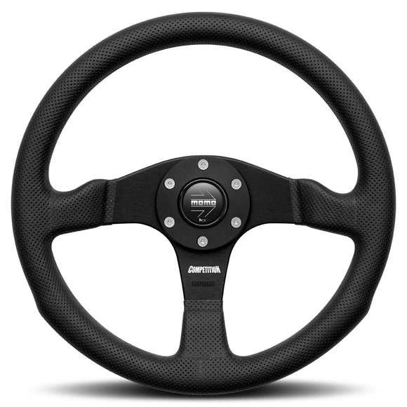 MOMO Competition Steering Wheel Black Leather Black Spokes 350mm - evilspeed.eu