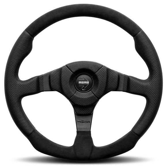 MOMO Dark Fighter Steering Wheel Black Leather Black Spokes 350mm - evilspeed.eu