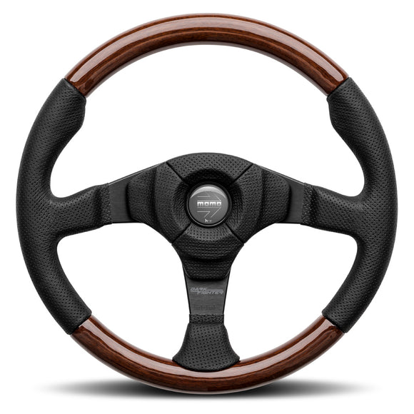 MOMO Dark Fighter Wood Steering Wheel Black Leather Black Spokes 350mm - evilspeed.eu