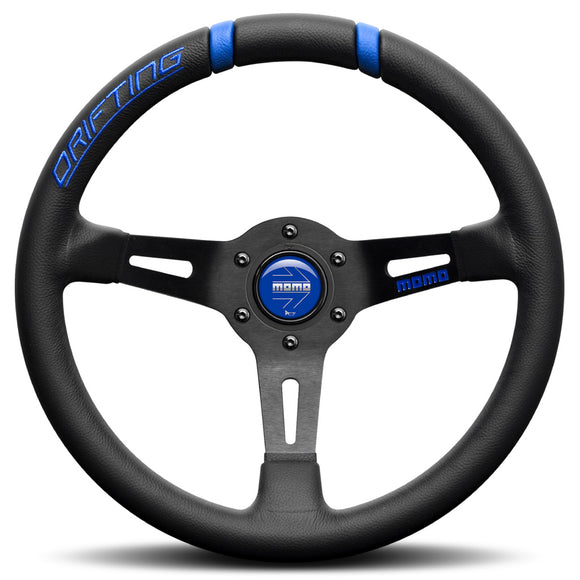 MOMO Drifting 33 Steering Wheel Black Blue Leather Black Spokes 330mm