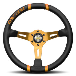 MOMO Drifting Steering Wheel Black Leather Orange Spokes 350mm