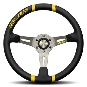 MOMO Drifting Steering Wheel Black Leather Silver Spokes 350mm