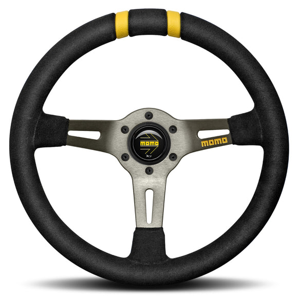 MOMO Drifting Steering Wheel Black Suede Anthracite Spokes 330mm