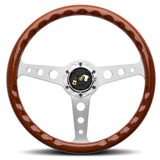 MOMO Indy Heritage Steering Wheel Mahogany Wood Silver Spokes 350mm