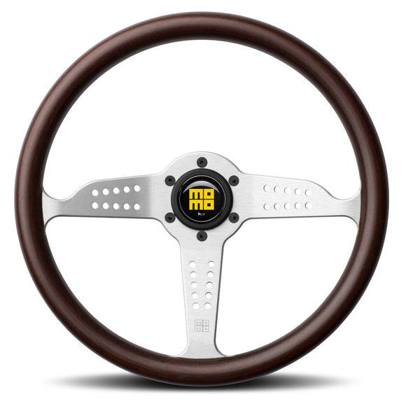 MOMO Grand Prix Steering Wheel Mahogany Wood Silver Spokes 350mm - evilspeed.eu