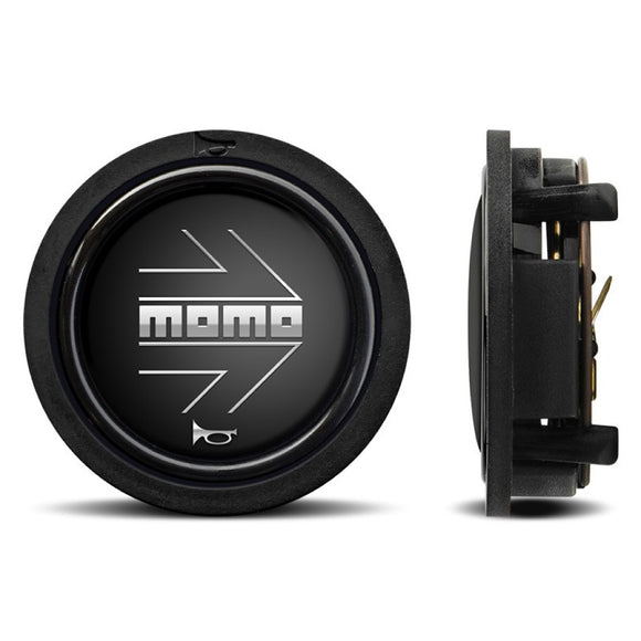 MOMO Horn Button Matt Black Chromed Logo Flat Lip - evilspeed.eu