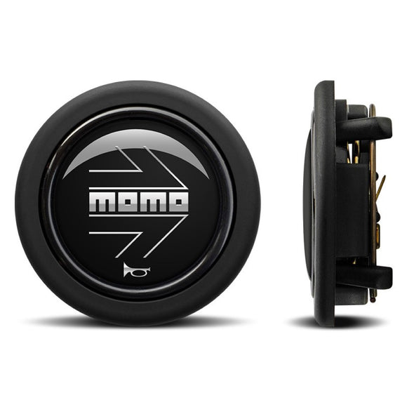 MOMO Horn Button Matt Black Chromed Logo Round Lip - evilspeed.eu
