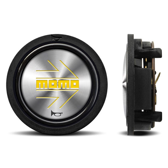 MOMO Horn Button Shiny Silver Yellow Logo - evilspeed.eu