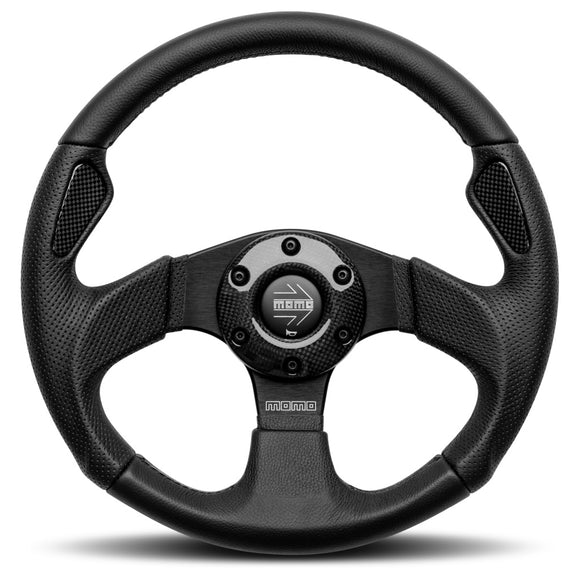 MOMO Jet Steering Wheel Black Leather Black Spokes 350mm