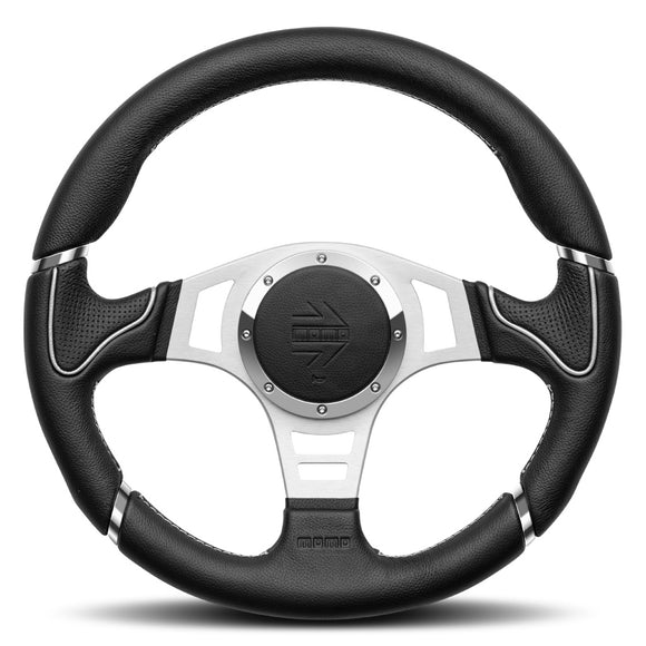 MOMO Millenium Sport Steering Wheel Black Leather Silver Spokes 350mm - evilspeed.eu