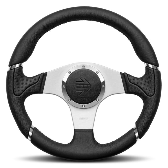 MOMO Millenium Steering Wheel Black Leather Silver Spokes 350mm