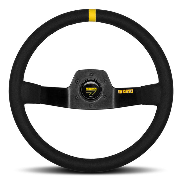 MOMO Mod. 02 Two Spoke Steering Wheel Black Suede Black Spokes 350mm