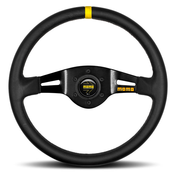 MOMO Mod. 03 Two Spoke Steering Wheel Black Leather Black Spokes 350mm