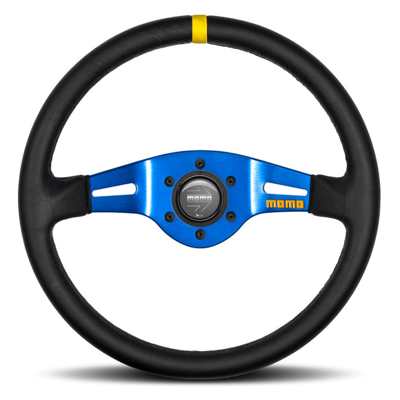 MOMO Mod. 03 Two Spoke Steering Wheel Black Leather Blue Spokes 350mm